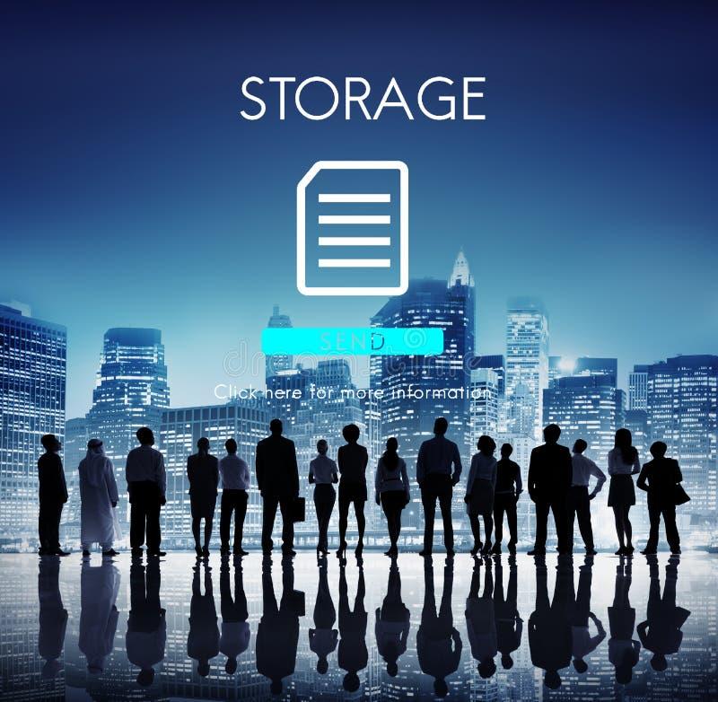 Conceito da rede da nuvem do base de dados do arquivo fotos de stock