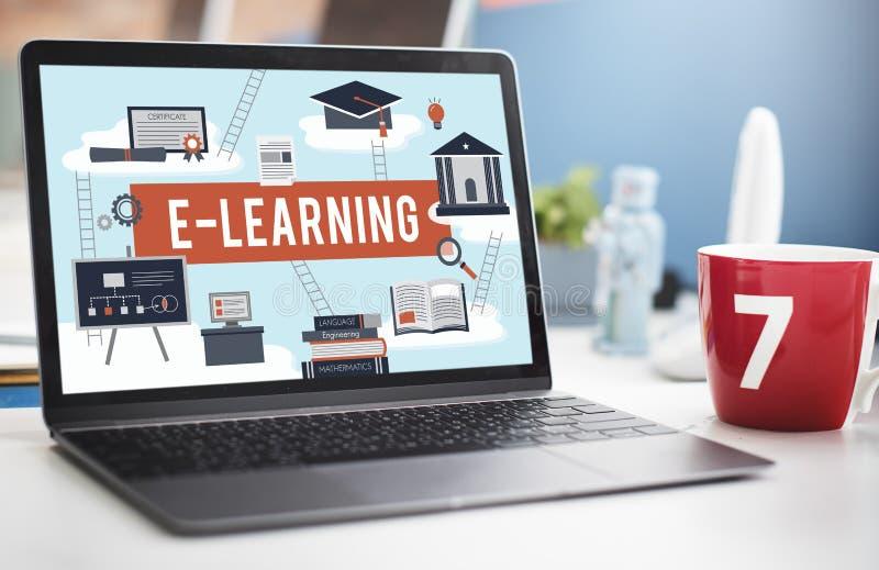 Conceito da rede da tecnologia do Internet da educação do ensino eletrónico fotografia de stock