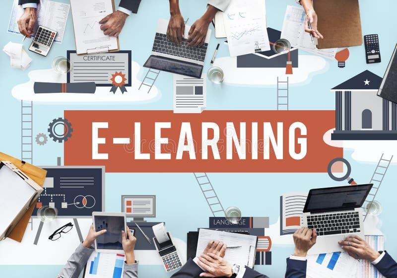 Conceito da rede da tecnologia do Internet da educação do ensino eletrónico imagem de stock