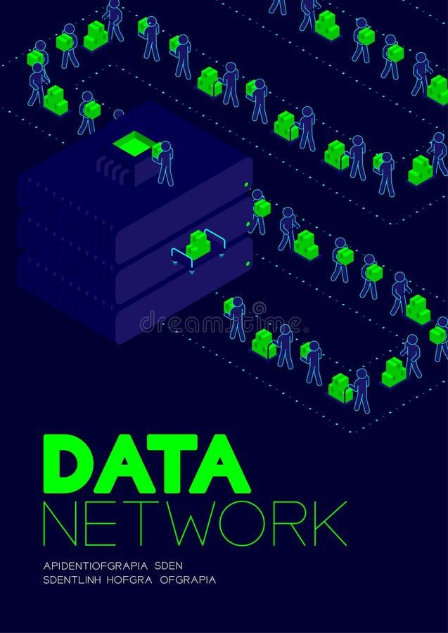 Conceito da rede de dados, dados de transferência do pictograma do homem ao projeto isométrico do cartaz e da bandeira da ilustra ilustração do vetor