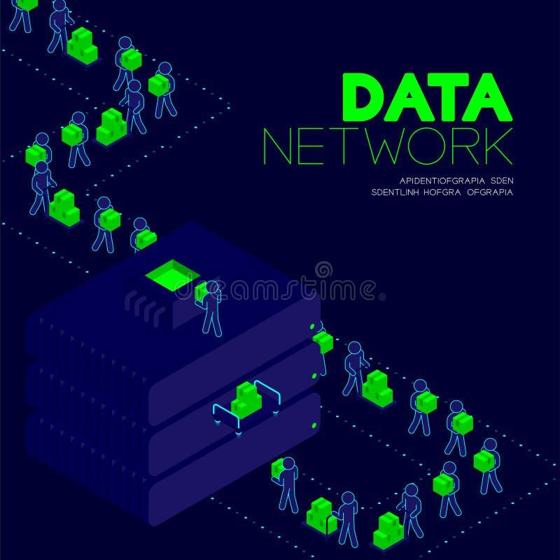 Conceito da rede de dados, dados de transferência do pictograma do homem ao projeto isométrico do cartaz e da bandeira da ilustra ilustração stock
