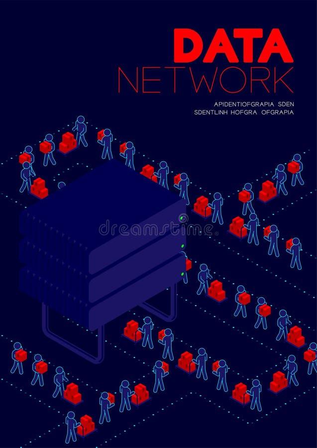 Conceito da rede de dados, dados de transferência do pictograma do homem ao projeto isométrico do cartaz e da bandeira da ilustra ilustração royalty free