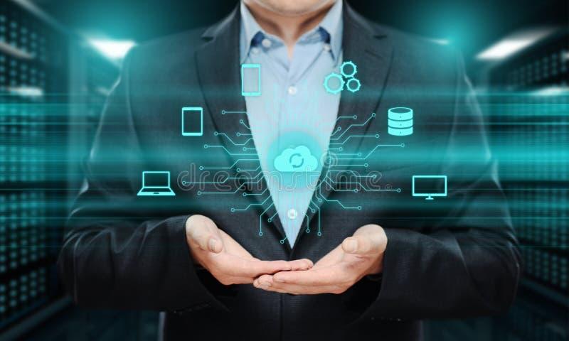 Conceito da rede do armazenamento do Internet da tecnologia informática da nuvem foto de stock