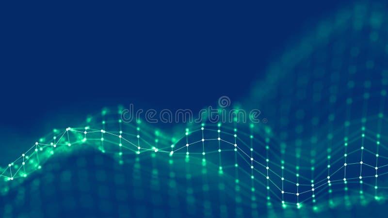 conceito da rede do fundo do sumário 3d Ilustração futura da tecnologia do fundo paisagem 3d Dados grandes Wireframe imagens de stock