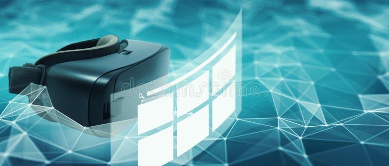 Conceito da rede do página da web da realidade virtual imagens de stock