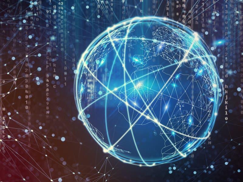 Conceito da rede global da conexão a Internet ilustração stock