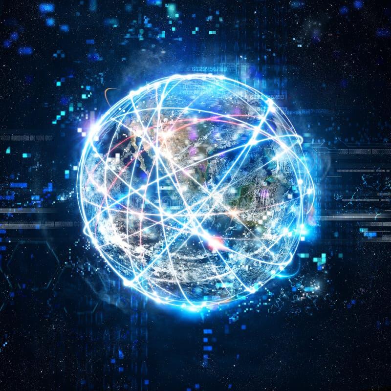 Conceito da rede global da conexão a Internet mundo fornecido pela NASA ilustração royalty free
