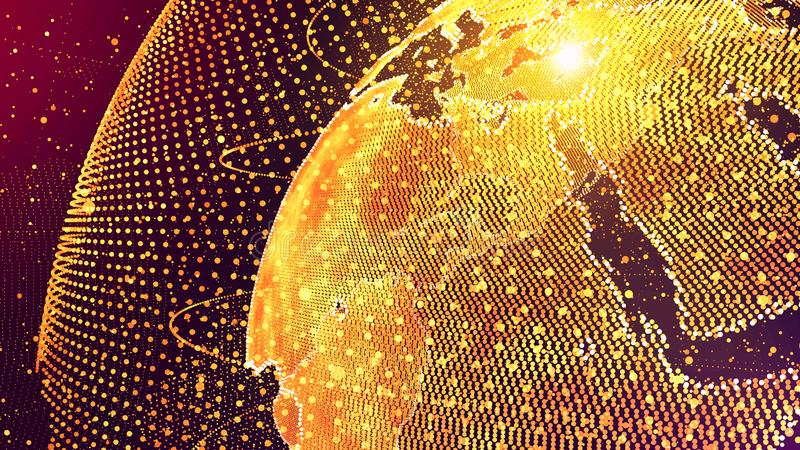 Conceito da rede global de inteligência artificial do AI do mundo Internet de IOT das coisas Rede de comunicação global da TIC ilustração do vetor