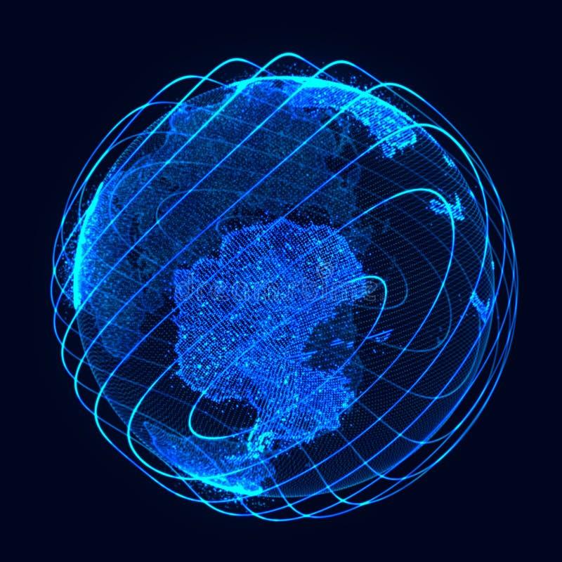Conceito da rede global Ponto do mapa do mundo Terra do planeta da rede global rendi??o 3d ilustração royalty free