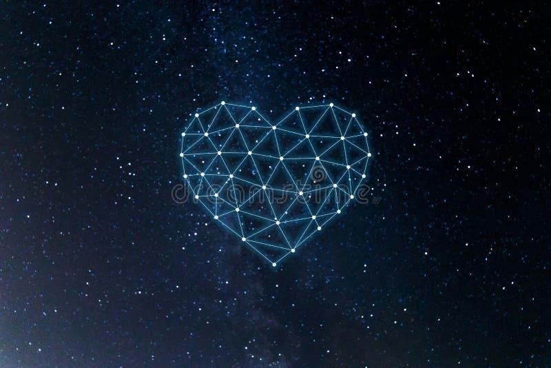 Conceito da rede neural com cora??o no fundo do espa?o Intelig?ncia artificial, m?quina e aprendizagem profunda, redes neurais ilustração stock