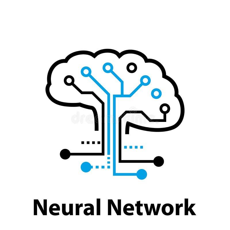 Conceito da rede neural Pilhas conectadas com relações Processo alta-tecnologia Profundamente aprendendo ilustração royalty free