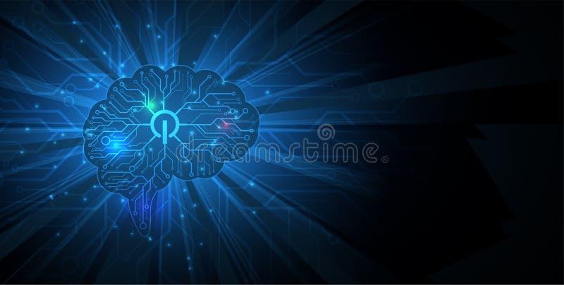 Conceito da rede neural Pilhas conectadas com relações Technol alto ilustração royalty free
