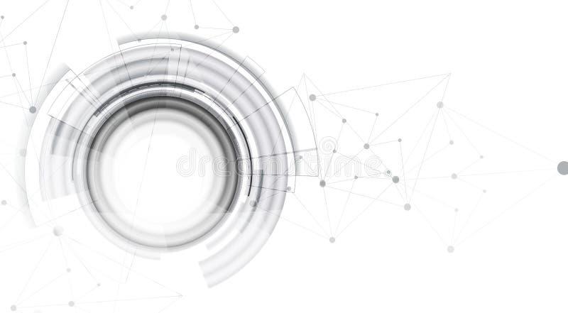 Conceito da rede neural Pilhas conectadas com relações Technol alto ilustração stock