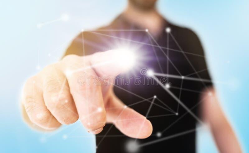 Conceito da rede no tela táctil translúcido com nó tocante do homem de negócios com dedo prolongado imagem de stock royalty free