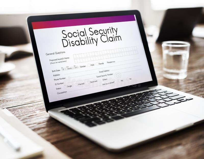 Conceito da reivindicação de inabilidade da segurança social fotografia de stock