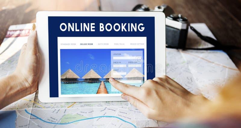 Conceito da relação do Web site da reserva do feriado fotografia de stock royalty free