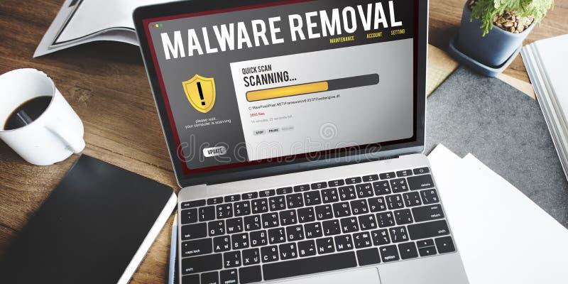 Conceito da remoção de Malware do guarda-fogo da proteção do arquivo de dados  fotos de stock royalty free