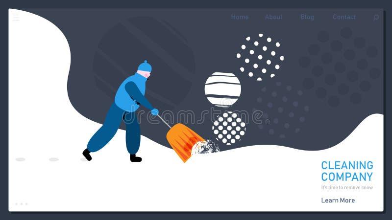 Conceito da remoção de neve para o página da web da casa Neve de encantamento das remoções do homem Ilustração do vetor no estilo ilustração stock