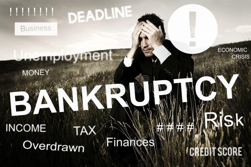 Conceito da retirada da crise financeira da falência da falha de negócio foto de stock