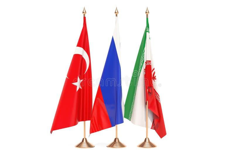 Conceito da reunião de Rússia, de Turquia e de Irã, rendição 3D ilustração do vetor