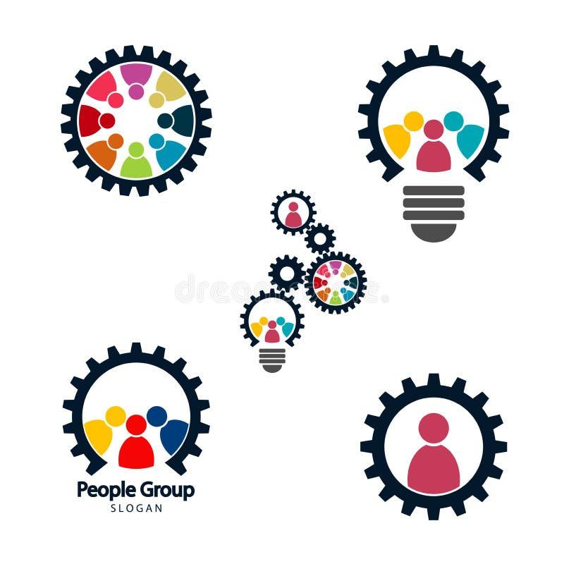 Conceito da reunião dos trabalhos de equipe da engrenagem, grupo gráfico que conecta, grupo do logotipo da conexão dos povos, tra ilustração do vetor
