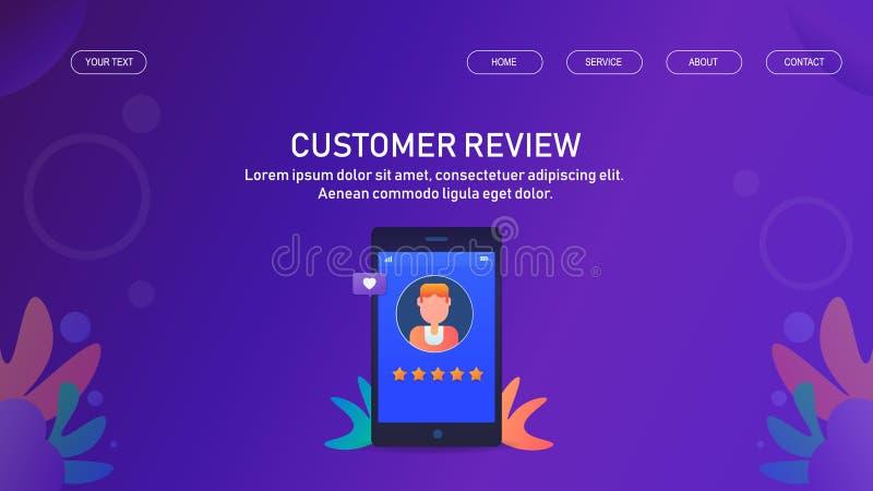 Conceito da revisão do cliente, feedback, estrela, exposição de avaliação no telefone celular, molde da bandeira da Web ilustração royalty free