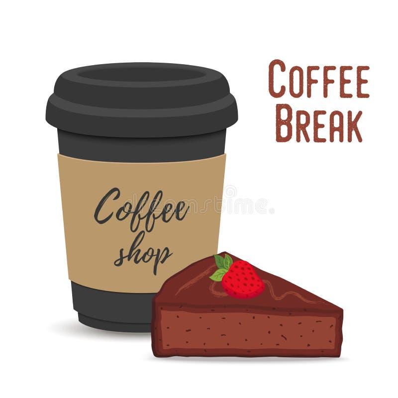 Conceito da ruptura de café do vetor Caneca e brownie ilustração royalty free