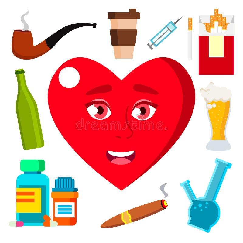 Conceito da saúde, coração cercado pelo vetor dos cigarros, do álcool, da medicina e do café Ilustração isolada dos desenhos anim ilustração royalty free