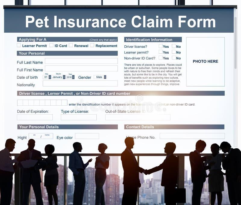 Conceito da saúde da segurança da proteção do formulário de crédito de seguro do animal de estimação imagem de stock royalty free