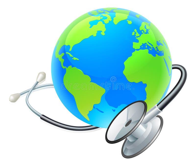 Conceito da saúde do globo do mundo da terra do estetoscópio ilustração stock