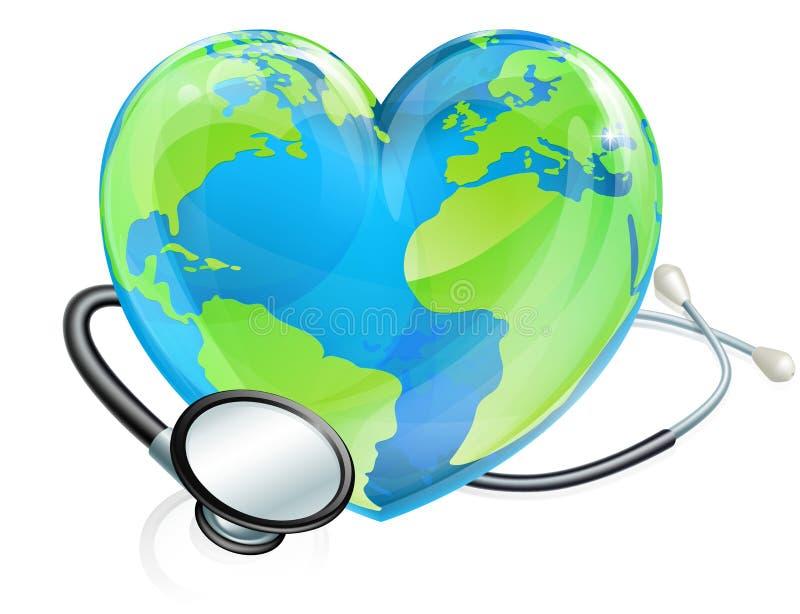 Conceito da saúde do globo do mundo do coração da terra do estetoscópio ilustração royalty free