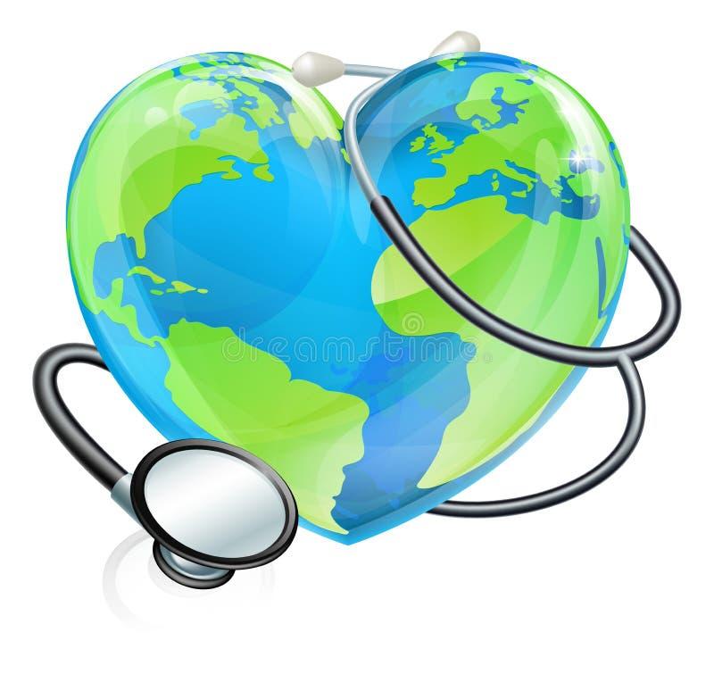 Conceito da saúde do globo do mundo da terra do coração do estetoscópio ilustração do vetor