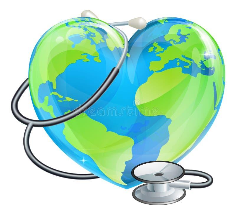 Conceito da saúde do mundo da terra do estetoscópio do globo do coração ilustração do vetor