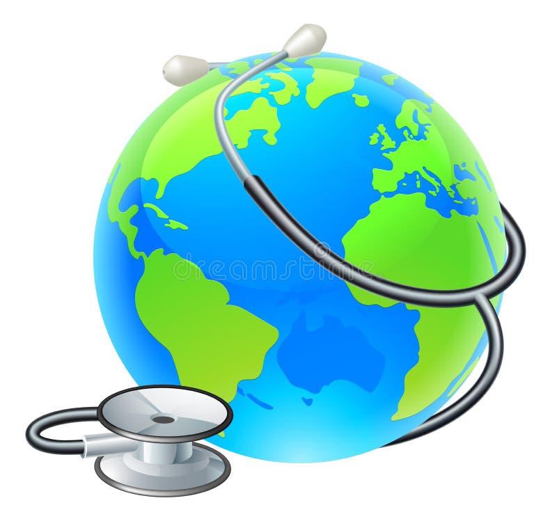 Conceito da saúde do mundo da terra do estetoscópio do globo ilustração do vetor