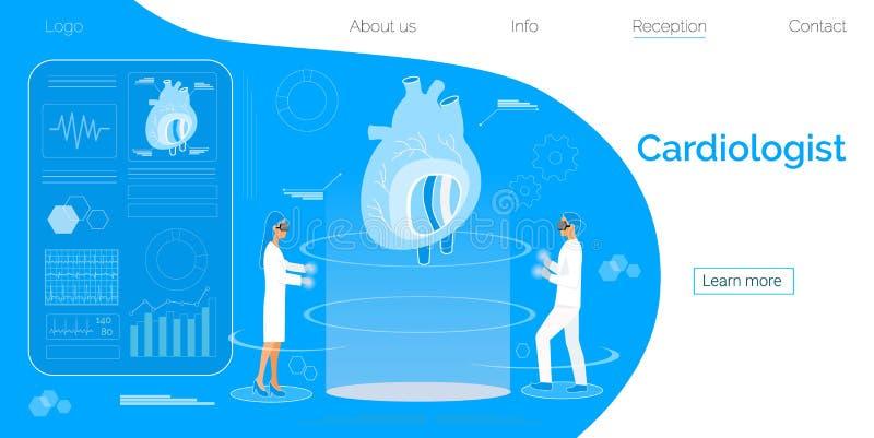 Conceito da saúde da doença do cardiologista, do coração, da hipotensão e da hipertensão ilustração royalty free