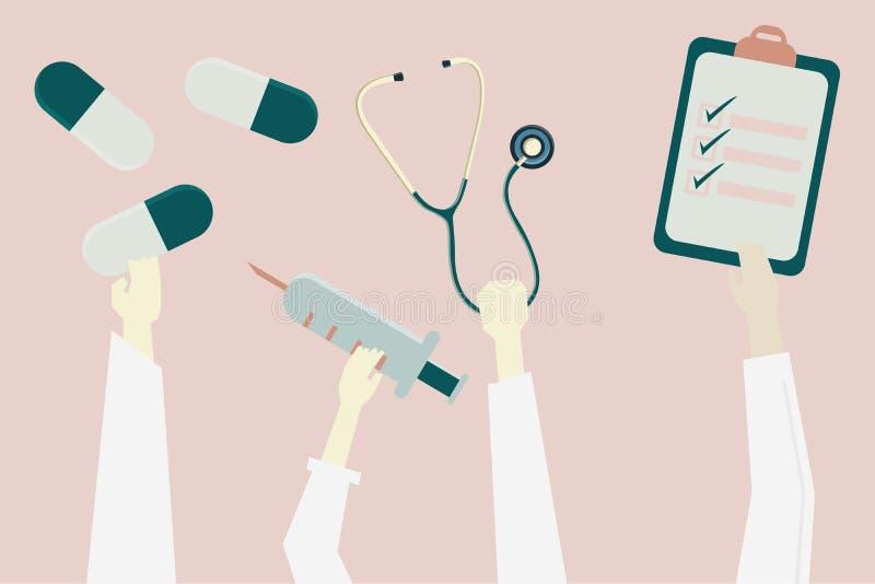 Conceito da saúde e dos cuidados médicos: as mãos tomam a medicina e o stet ilustração do vetor