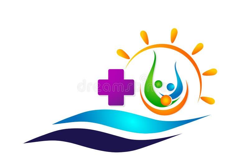 Conceito da saúde da família do navio do sol do globo dos cuidados médicos e do barco da onda do mar no sinal do elemento do ícon ilustração stock