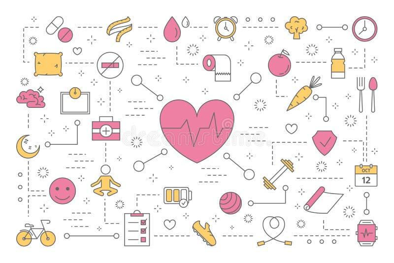 Conceito da saúde Ideia do tratamento médico e do estilo de vida saudável ilustração do vetor