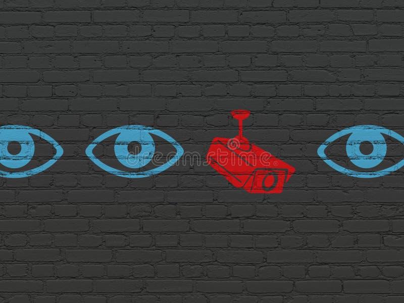 Conceito da segurança: ícone da câmera do cctv na parede ilustração royalty free