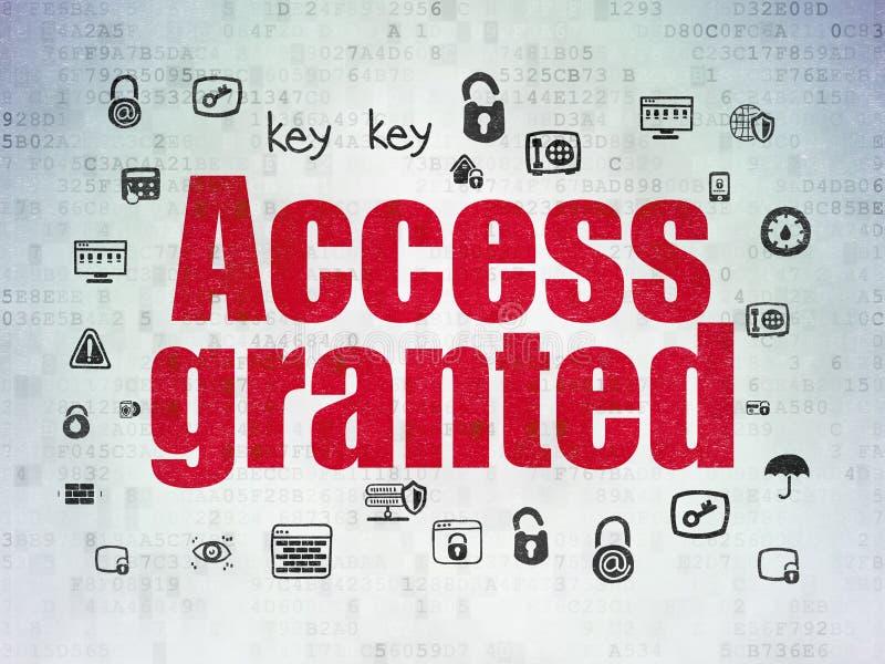 Conceito da segurança: Alcance concedido no fundo do papel dos dados de Digitas ilustração do vetor