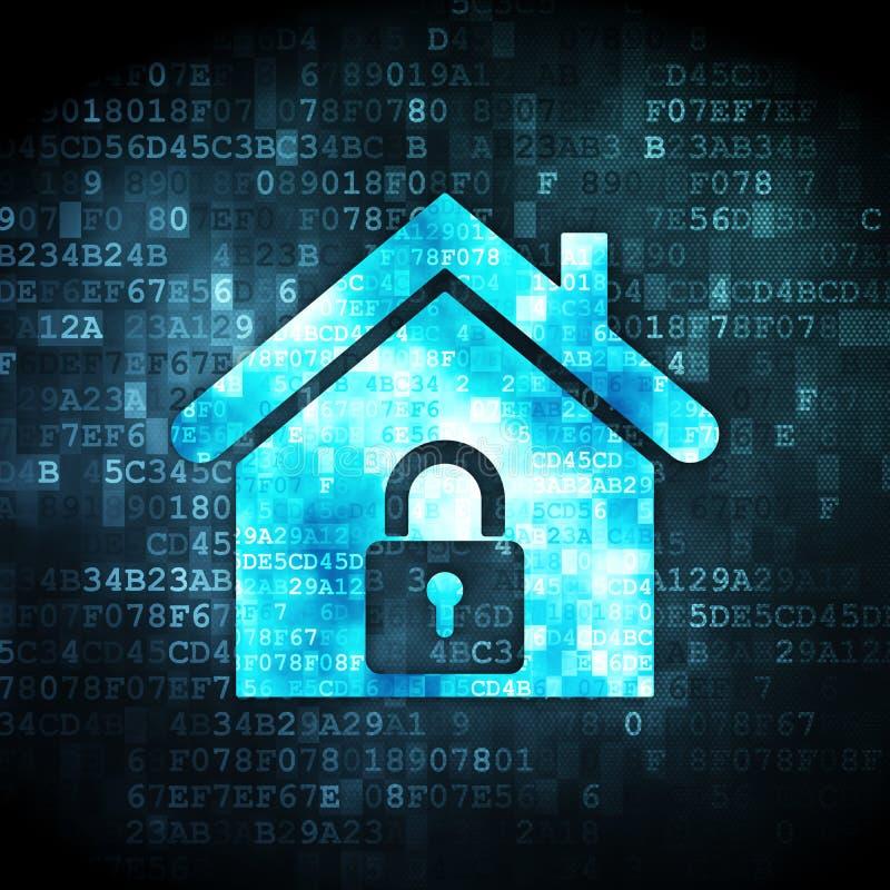 Conceito da segurança: casa no fundo digital imagem de stock