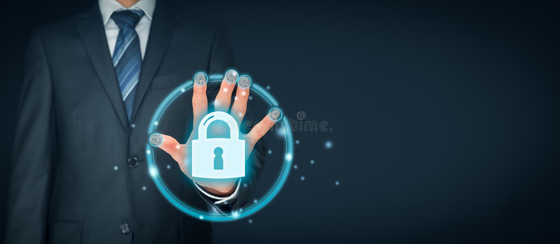 Conceito da segurança com identificação e authe do toque da impressão digital fotografia de stock royalty free