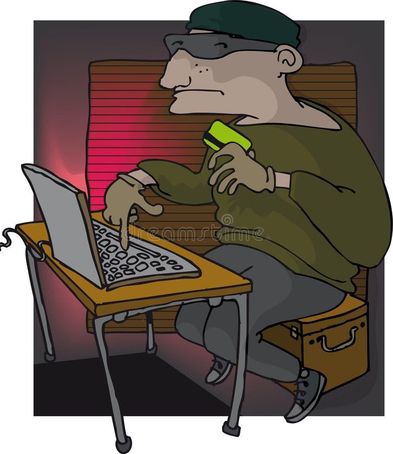 Conceito da segurança com o ladrão sneaky que rouba dados do computador do portátil na noite ilustração royalty free