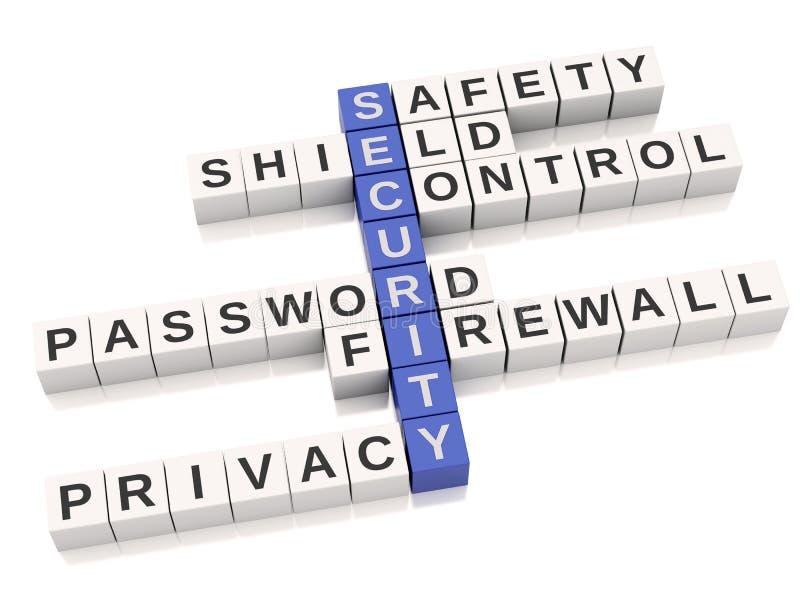 conceito da segurança 3d Palavras cruzadas com letras ilustração do vetor