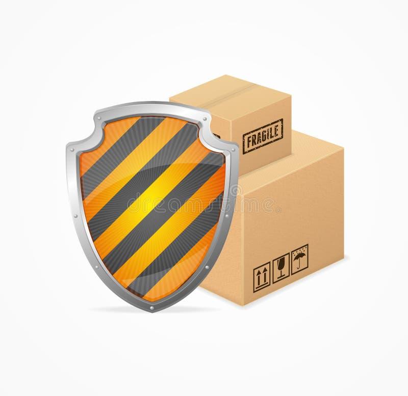 Conceito da segurança da entrega Vetor ilustração do vetor