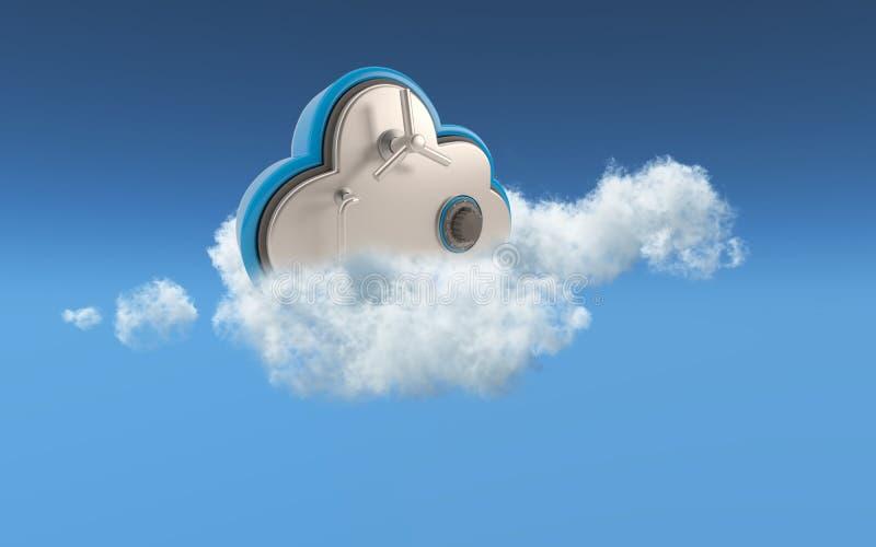 conceito da segurança da nuvem 3d ilustração do vetor