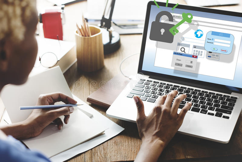 Conceito da segurança da proteção do Internet da segurança da Web imagens de stock