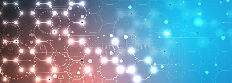 Conceito da segurança da tecnologia Fundo digital da segurança moderna ilustração do vetor