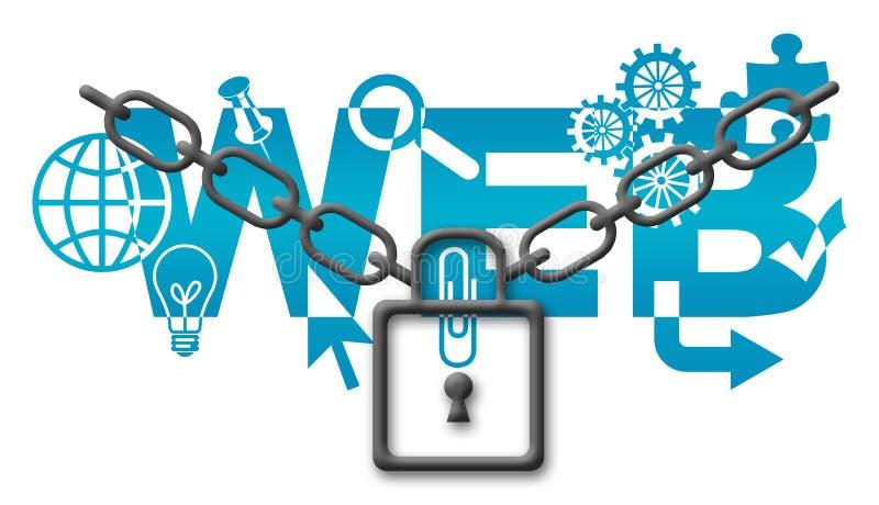 Conceito da segurança da Web ilustração do vetor