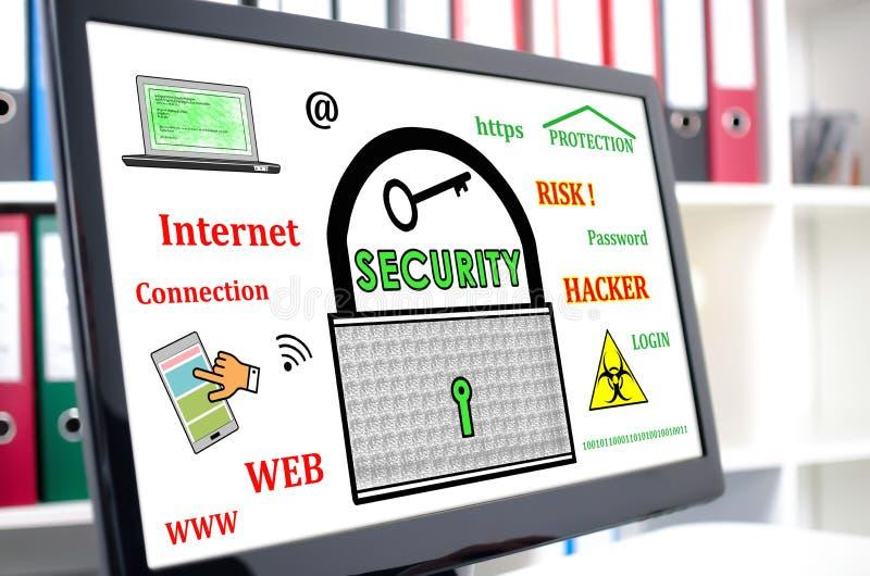 Conceito da segurança de dados em um tela de computador foto de stock